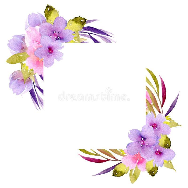 Eckgrenzrahmen mit den rosa und purpurroten Wildflowers und den grünen Niederlassungen stockfoto