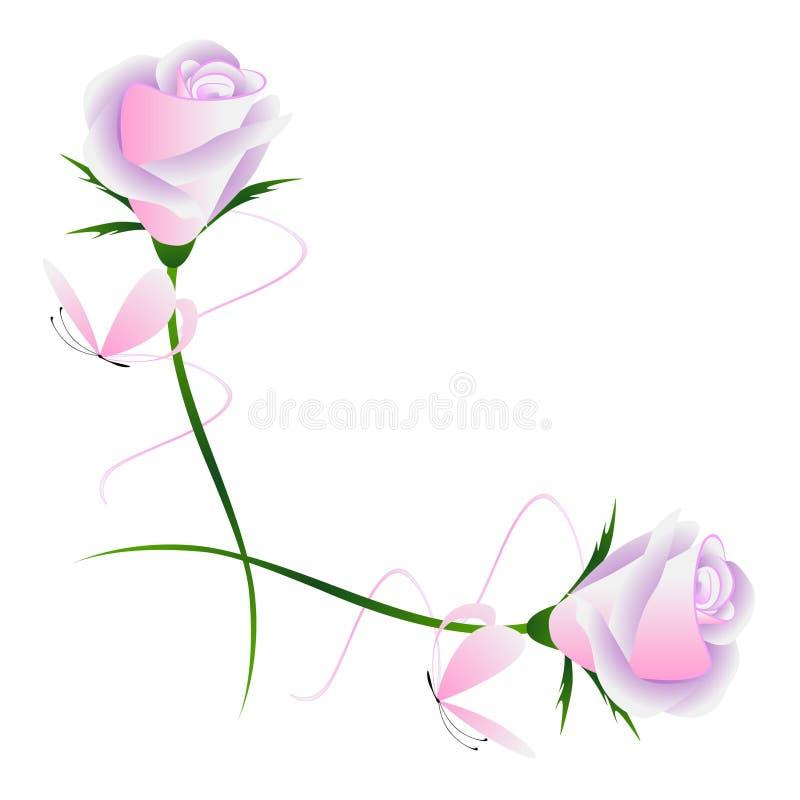 Eckverzierung mit rosa Rosen und Schmetterlingen, Element für Design vektor abbildung