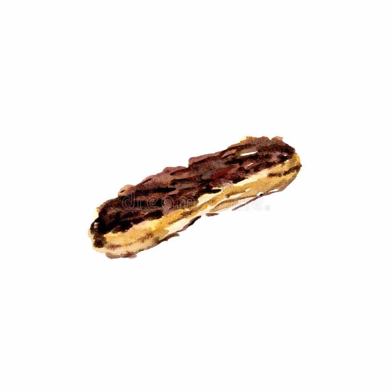 Eclair с акварелью поливы шоколада Вручите вычерченный изолированный eclair на земле задней части белизны иллюстрация штока