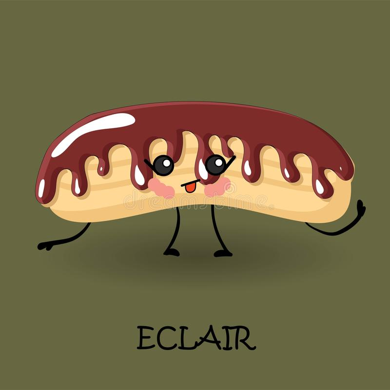 Eclair character with face and smile. Kawaii sweets and desserts. Delicious sweets and sweets stock illustration