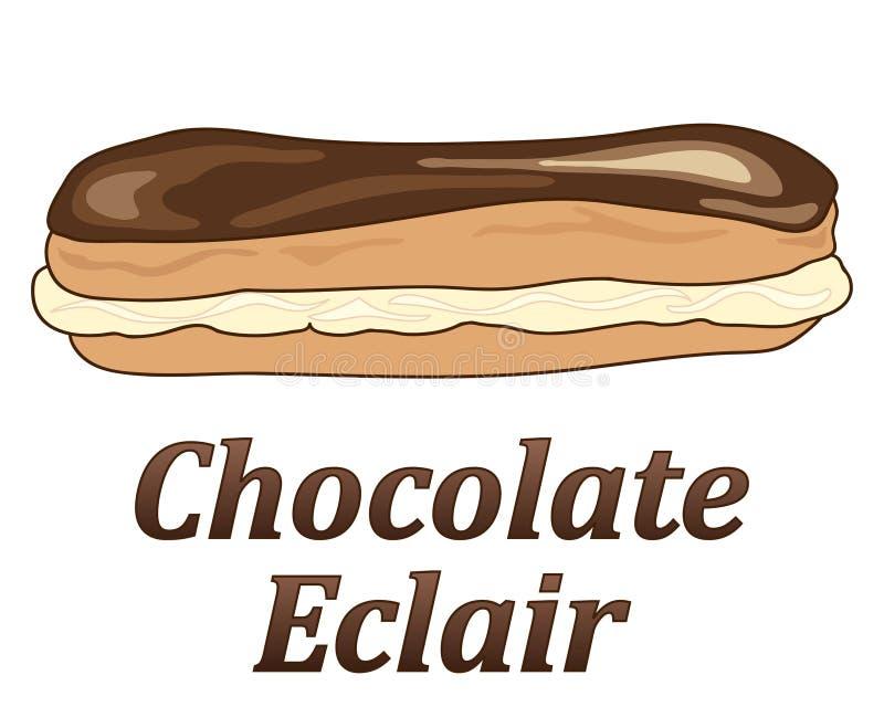 Eclair de chocolate ilustração royalty free