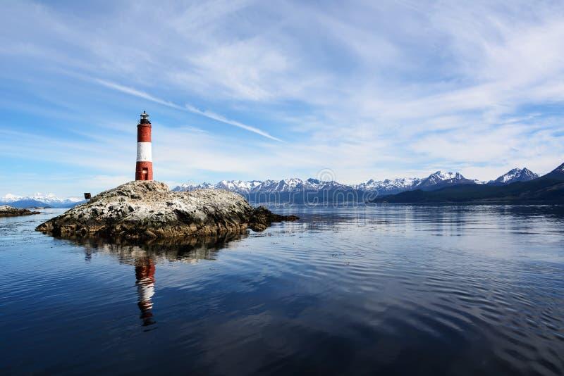 Eclaireurs de Les de phare dans la Manche de briquet près d'Ushuaia photos libres de droits