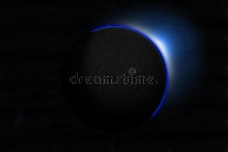 Eclipse. High Resolution Eclipse Of An Alien Moon stock illustration