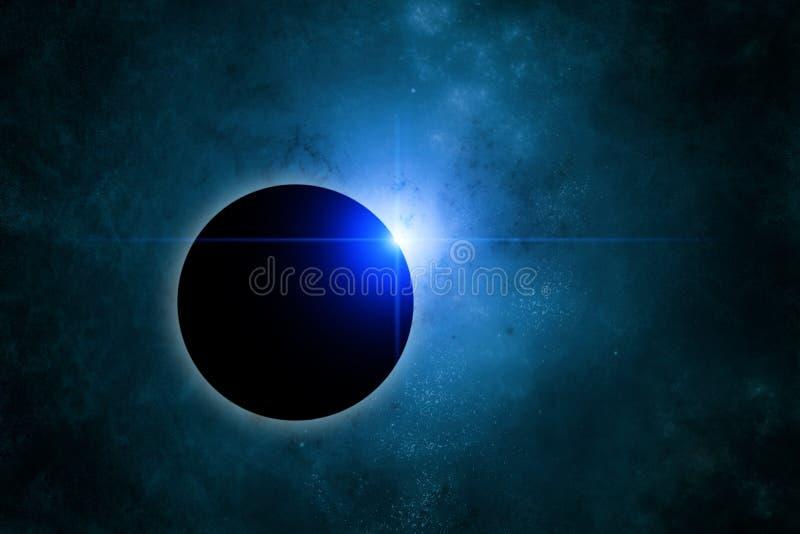 Eclipse with blue nebula on background stock photography