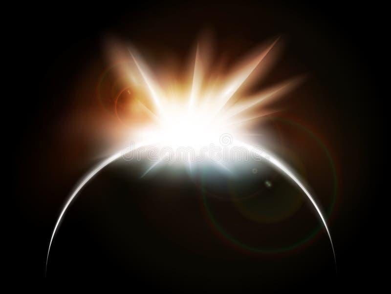 Eclipse completo solar ilustración del vector