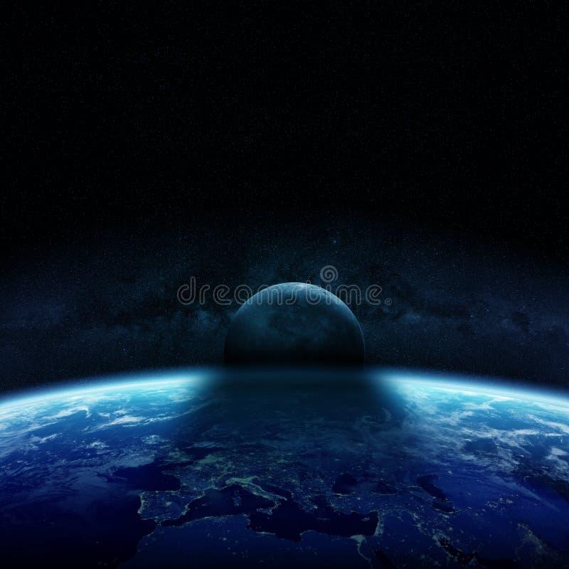 Eclipse del sol en los elementos de la representación de la tierra 3D del planeta de libre illustration