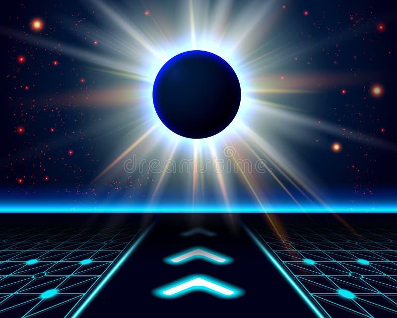 Eclipse desconocido del planeta. Fondo cósmico abstracto. libre illustration
