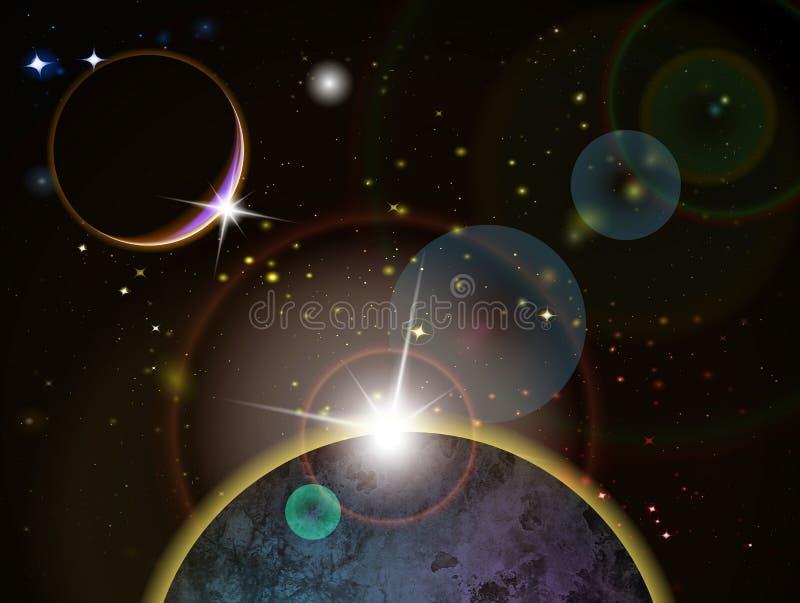 Eclipse - escena del espacio de la fantasía libre illustration