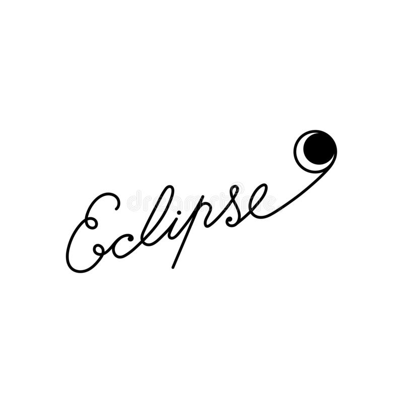 Eclipse. Hand lettering on a white background . Vector illustration with an astronomical phenomenon royalty free illustration