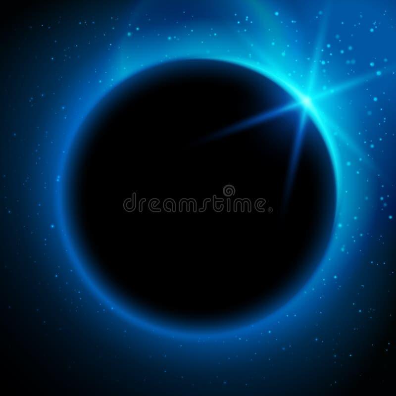 Eclipse a ilustração, planeta no espaço em raios de luz azuis ilustração do vetor