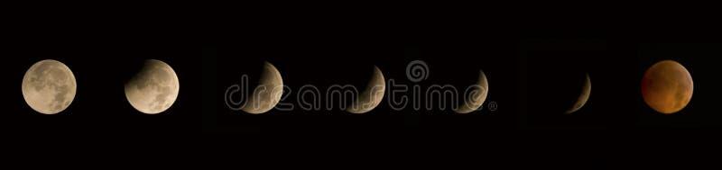Eclipse lunar 2010 de Solstice de inverno fotografia de stock