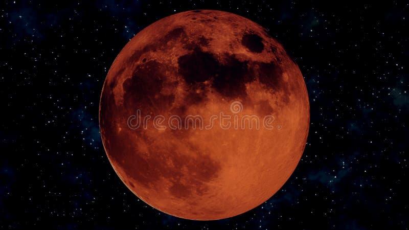 Eclipse lunar completo realista Ejemplo de la luna 3D de la sangre foto de archivo libre de regalías
