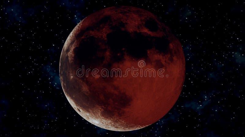 Eclipse lunar completo realista Ejemplo de la luna 3D de la sangre libre illustration
