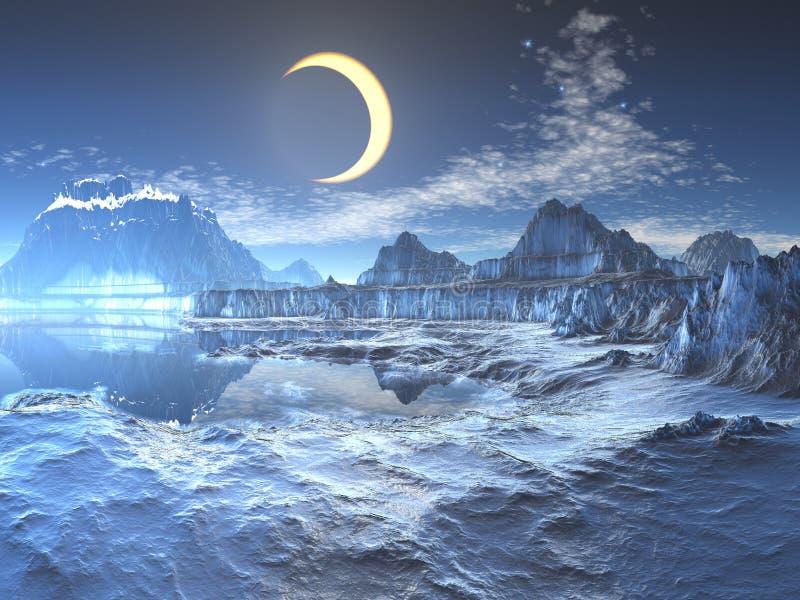 Eclipse lunar sobre el planeta congelado stock de ilustración