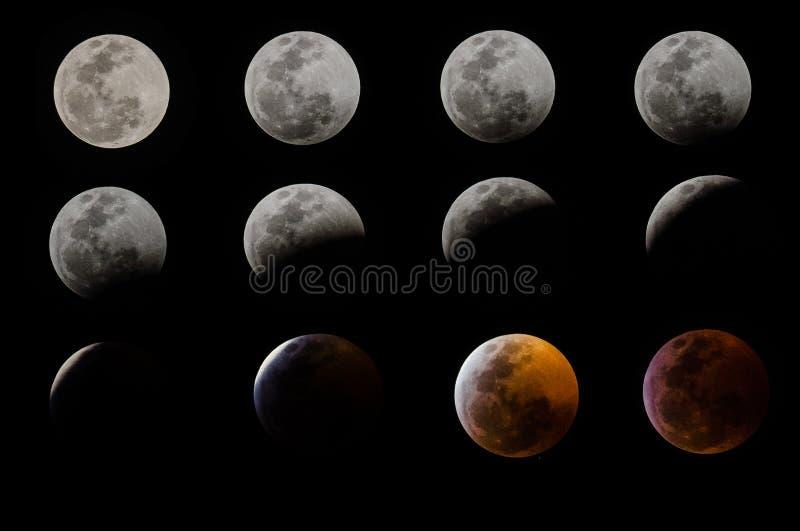 Eclipse lunar total en Ciudad de México, el 21 de enero de 2019 imagen de archivo