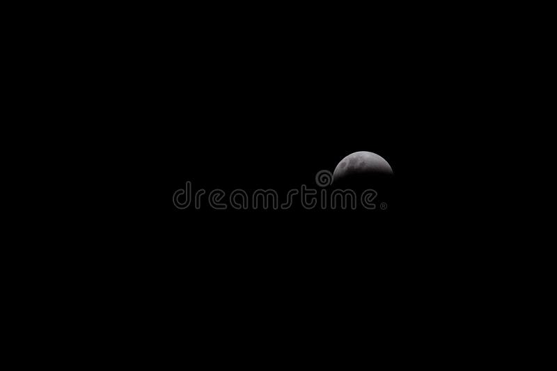 Eclipse of Moon on Black Background stock photos