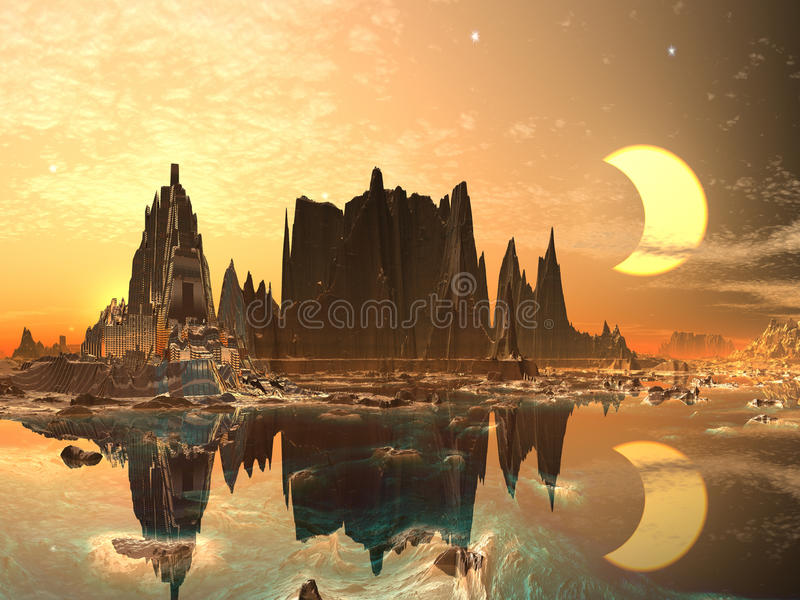 Eclipse over Electra Prime royalty free illustration