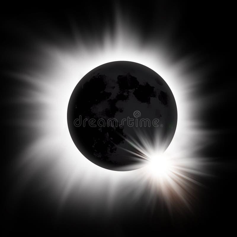 Eclipse solar de The Sun ilustración del vector