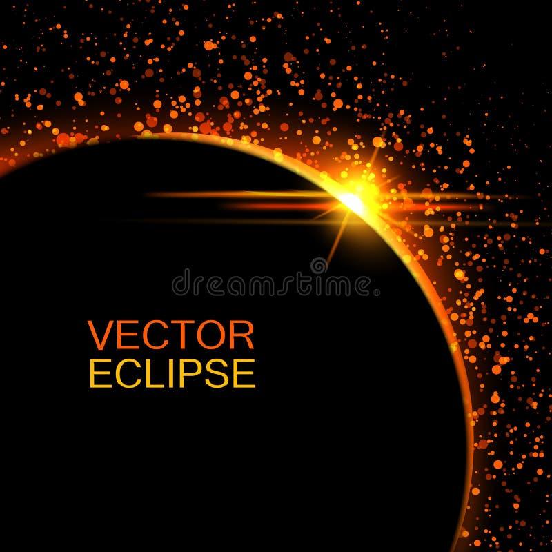 Eclipse solar do vetor Eclipse de Sun no fundo do espaço Sol abstrato após a lua Contexto do eclipse do vetor Fundo cósmico ilustração do vetor