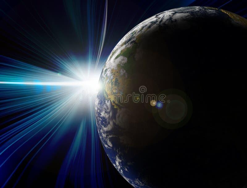 Eclipse solar e terra do planeta ilustração do vetor