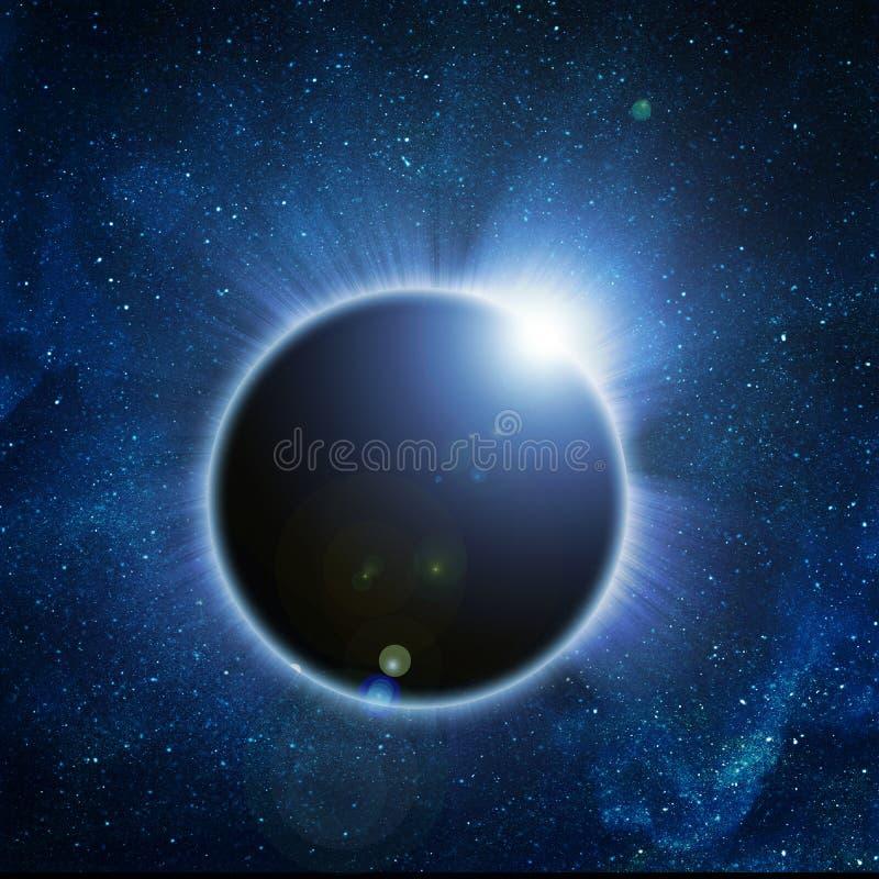 Eclipse solar em um preto ilustração stock