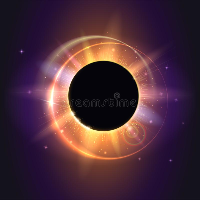 Eclipse solar, fenómeno astronómico - eclipse completo del sol Fondo científico - eclipse solar total en brillar intensamente osc ilustración del vector