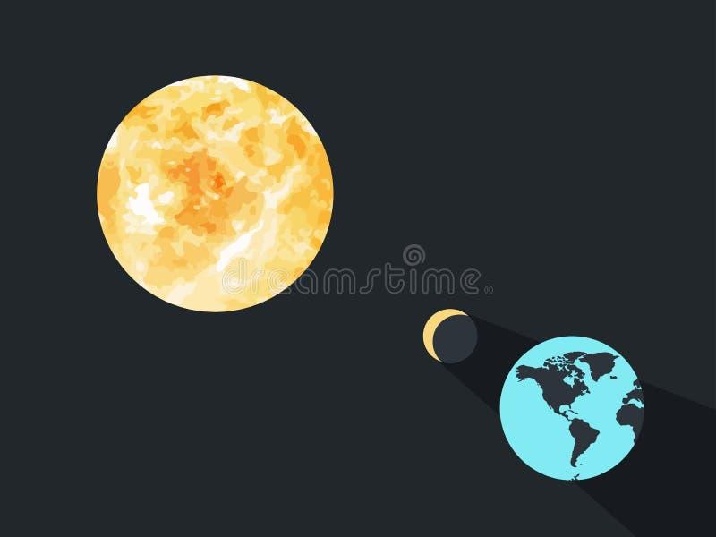 Eclipse solar A lua fecha a terra do planeta dos raios do ` s do sol Vetor ilustração stock