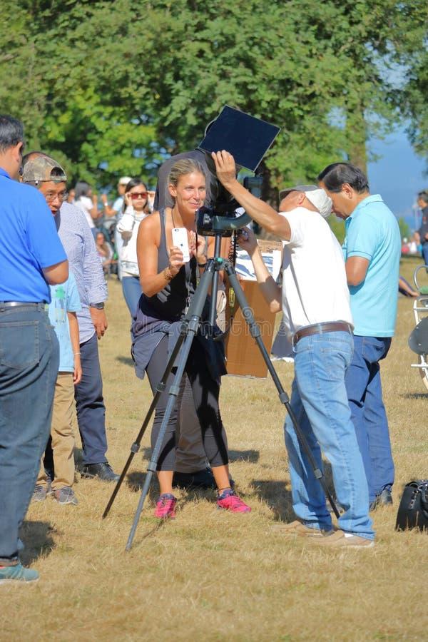 Eclipse solar parcial do ` s de Vancôver foto de stock royalty free