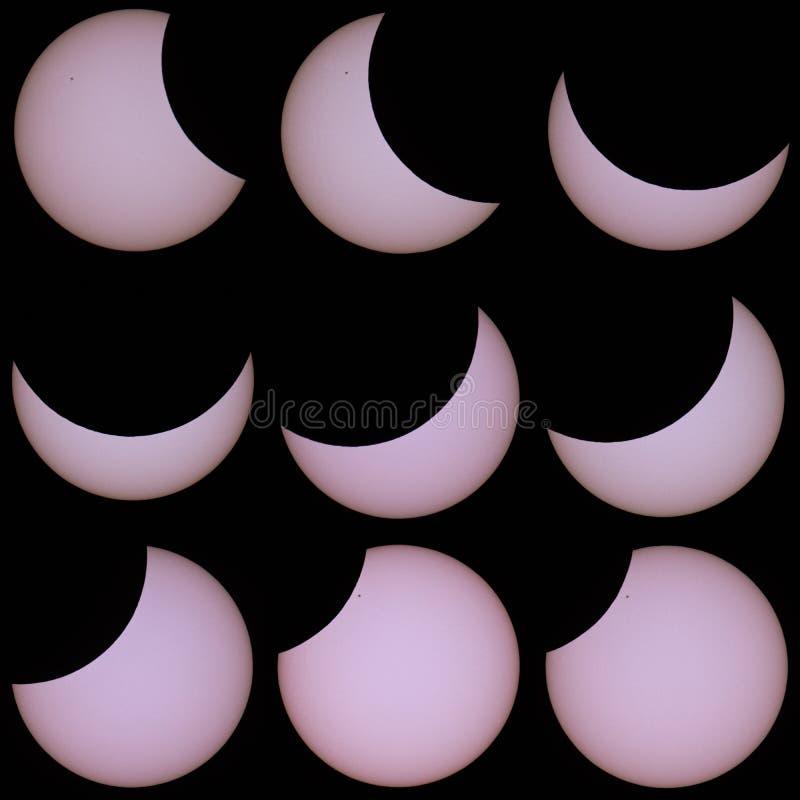Eclipse solar parcial en Praga el 20 de marzo de 2015 stock de ilustración