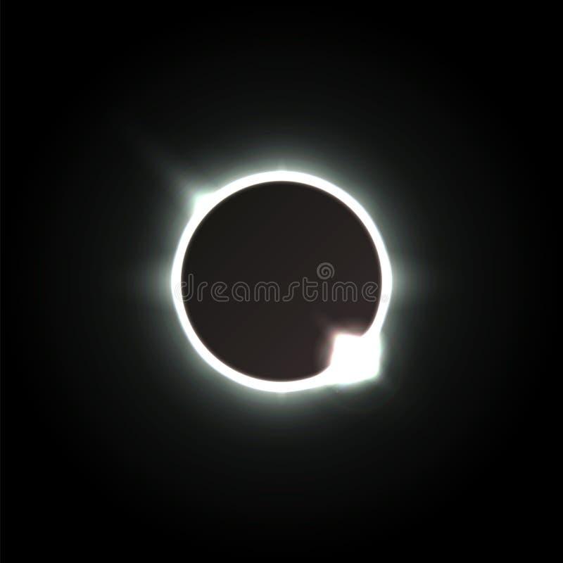 Eclipse solar Sombra da lua, e a aura da corona solar ilustração stock