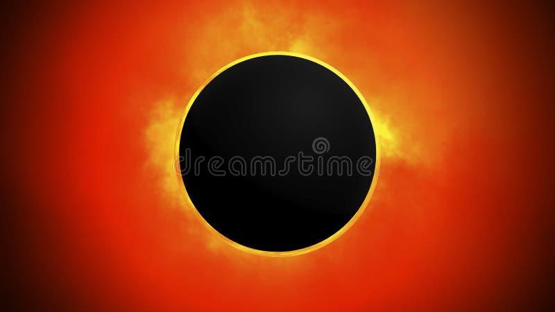 Eclipse solar toda la energ?a solar y la Sistema Solar del universo en el formato 3d ilustración del vector