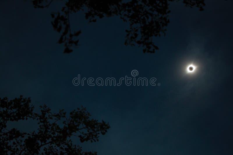 Eclipse solar total en Nebraska en el estado Recreatio del lago bluestem imágenes de archivo libres de regalías