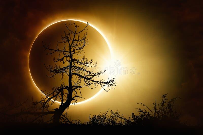 Eclipse solar total no céu escuro fotografia de stock