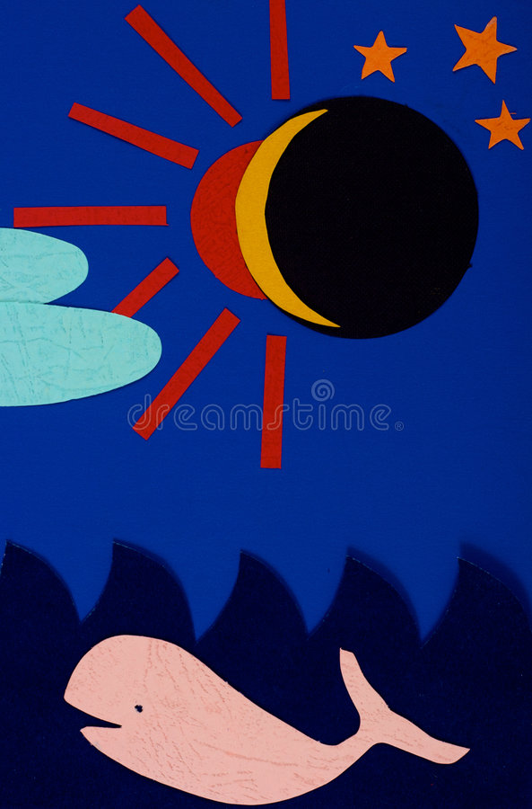 Eclipse solar y la ballena fotografía de archivo libre de regalías