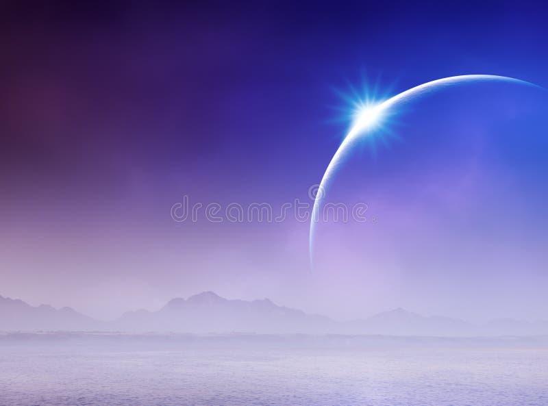 Eclipse solare sopra vista sul mare illustrazione di stock