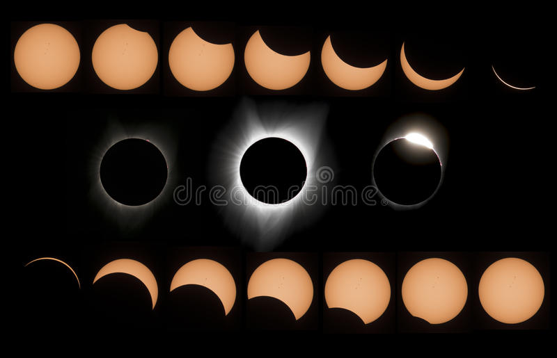 Eclipse of the sun. Eclipse sun light totale astro stock images