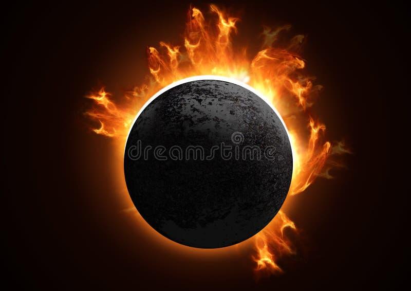 Eclipse total detalhado ilustração royalty free