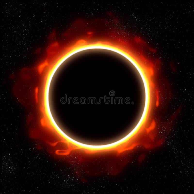 Eclipse total en espacio ilustración del vector