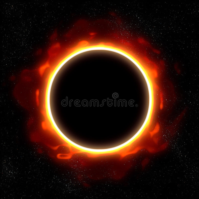 Eclipse total no espaço ilustração do vetor