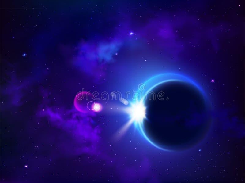Eclipse total solar ou lunar Espaço do sol da tampa da lua ilustração stock