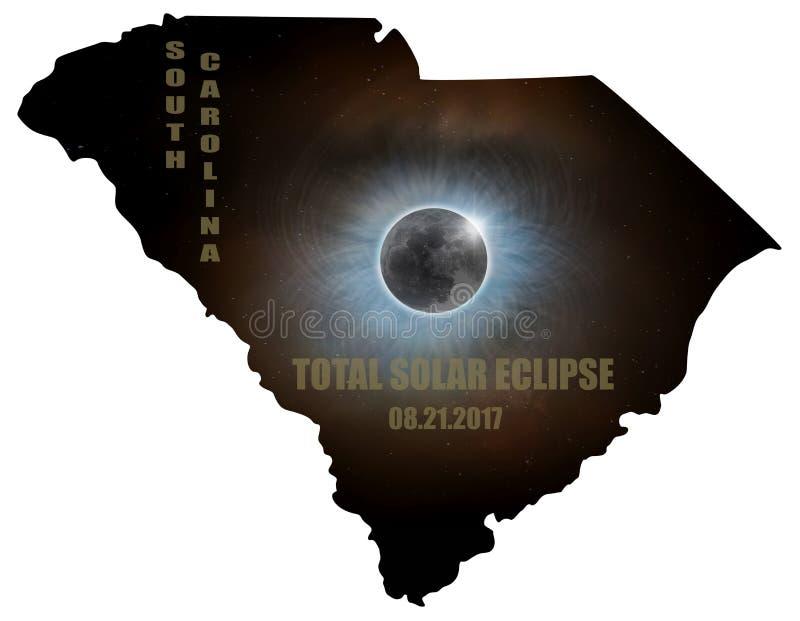 Eclissi solare totale in Carolina Map Outline del sud U.S.A. illustrazione di stock