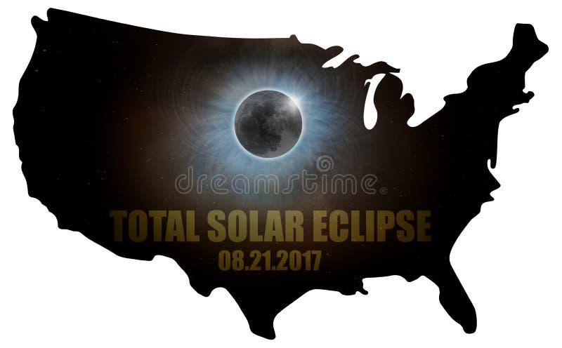 Eclissi solare totale nel profilo U.S.A. della mappa degli Stati Uniti illustrazione di stock