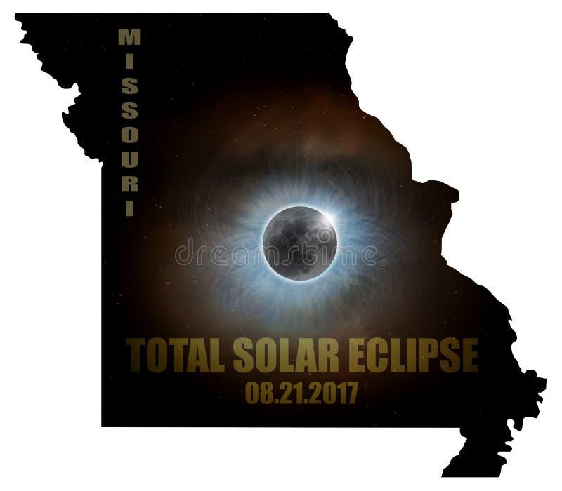 Eclissi solare totale nel profilo U.S.A. della mappa del Missouri illustrazione di stock