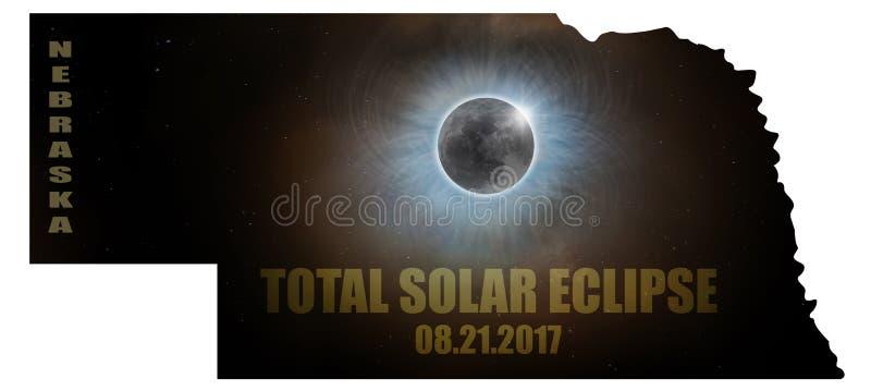 Eclissi solare totale nel profilo U.S.A. della mappa del Nebraska illustrazione di stock