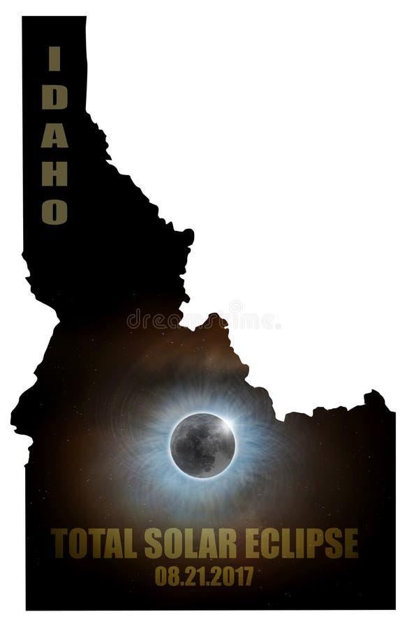 Eclissi solare totale nel profilo U.S.A. della mappa dell'Idaho illustrazione vettoriale