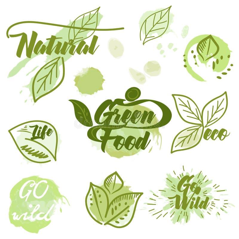 eco与墨水斑点的绿色标签的汇集 皇族释放例证