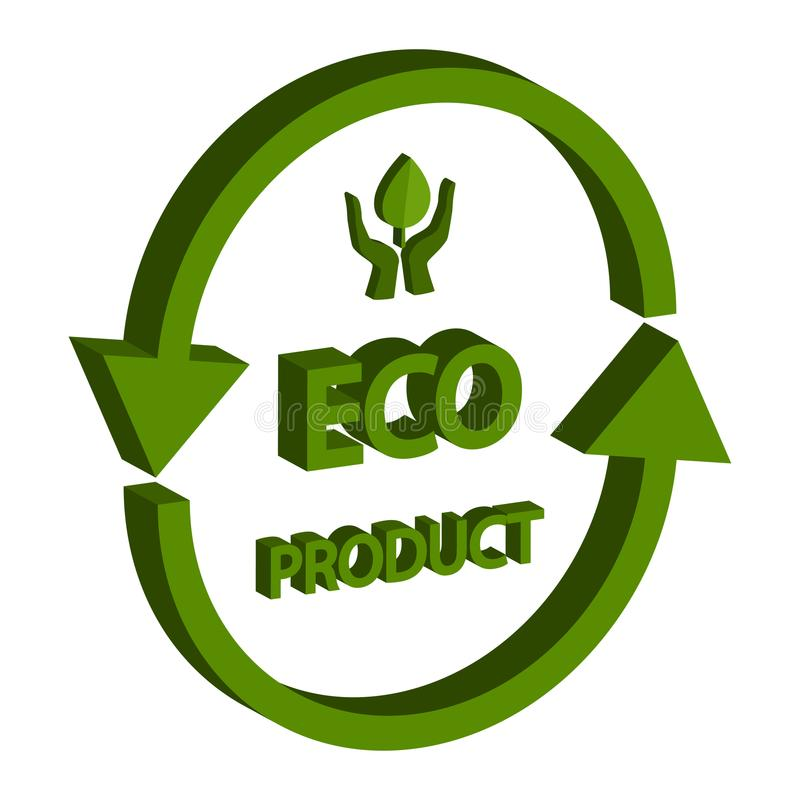 Eco产品等量3D,隔绝在白色背景 免版税图库摄影