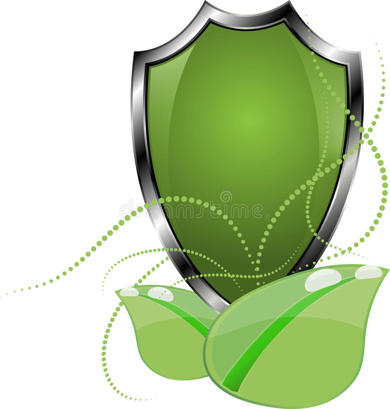 Eco保护商标模板设计 生态盾标签 植物象 皇族释放例证