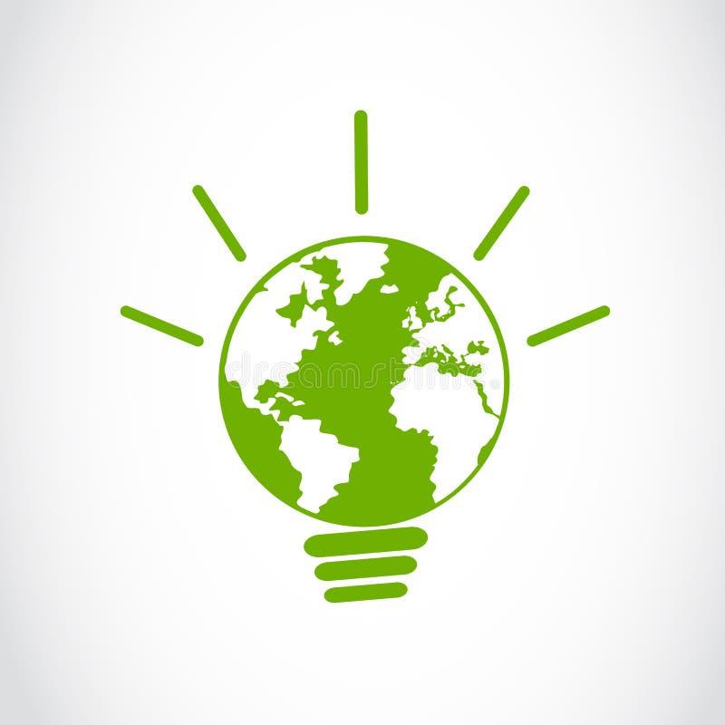 Eco全球能源电灯泡符号 库存例证