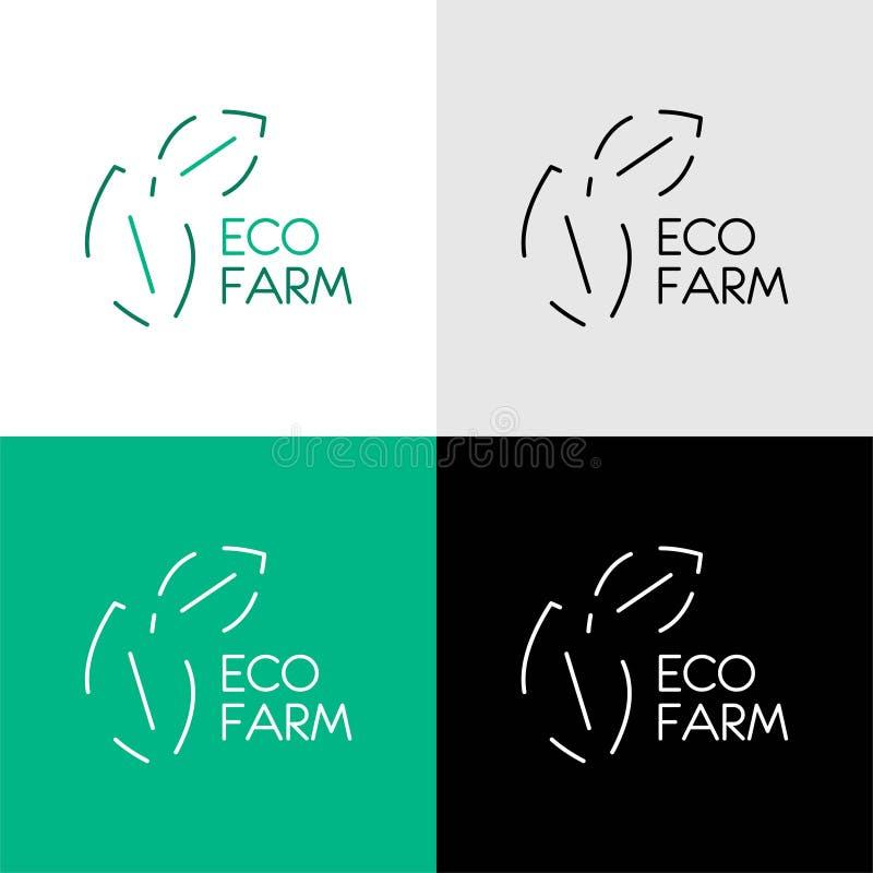 ECO农厂商标设计 设置自然叶子绿色商标设计观念 环境商标模板传染媒介 r 向量例证